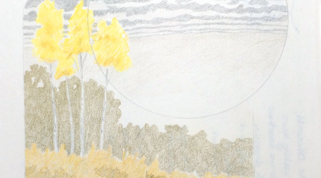 Colored pencil drawing of three yellow birches.