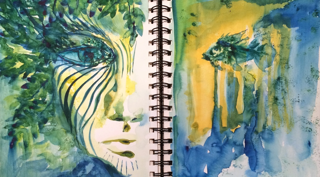 """Green and blue """"jungle face"""" mask, with fish and underwater image on facing page."""