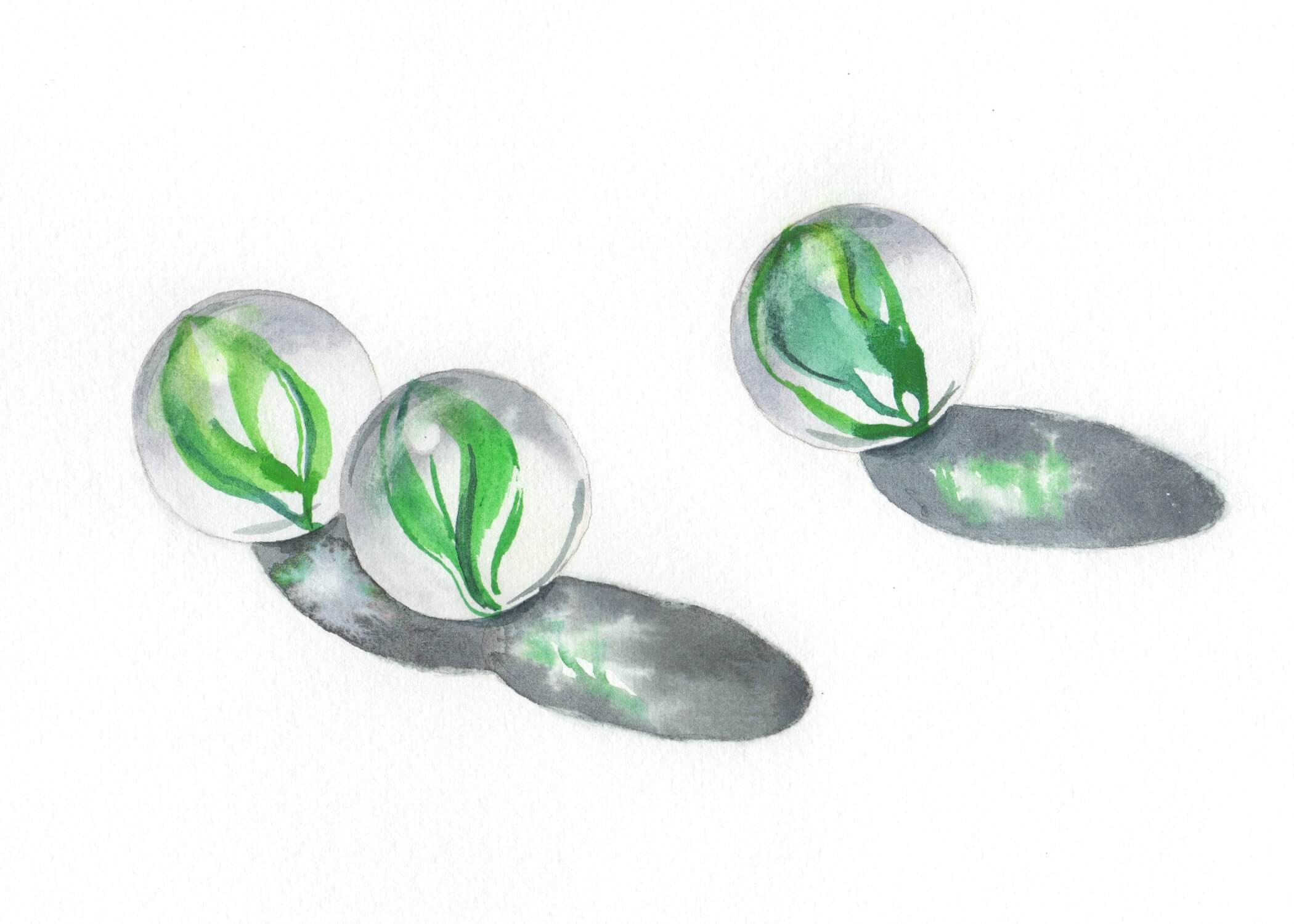 watercolor painting of three marbles in the sunlight