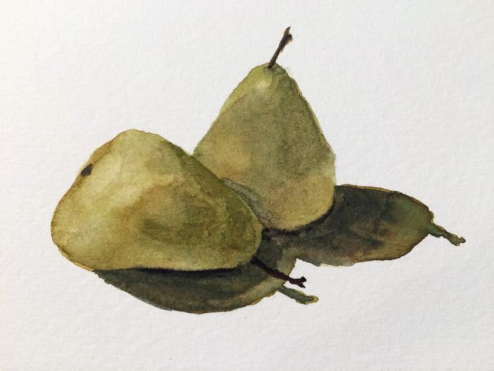Tiny fourth layer—the darkest shadows at the base of the pears and the stem on the pear in front.