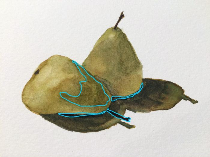Fourth layer—the shadow side of the pear in front, small shadows below each pear, and the stem of the pear in front.