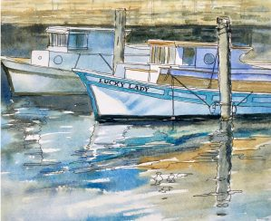 A watercolor line and wash sketch of two boats at Fisherman's Wharf, San Francisco.