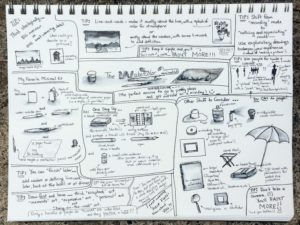 A sketchbook page of tips and reminders.