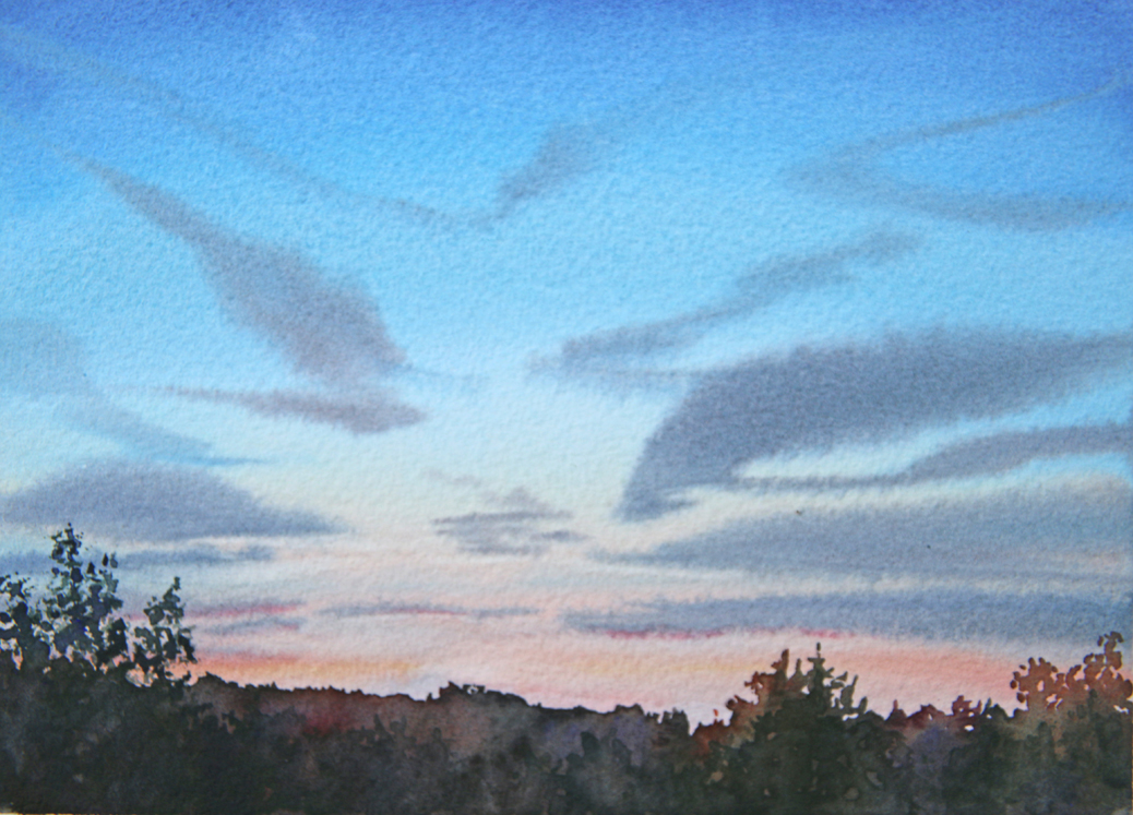 A 1-2-3-wash painting of a sunset sky with jet contrails.