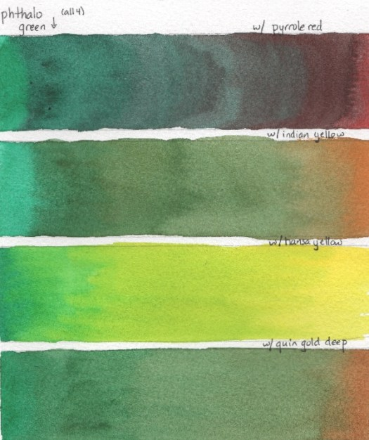 Swatches showing mixtures of phthalo green and reds, oranges or warm yellows