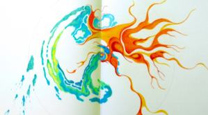 Colored pencil drawing with blue/green watery shapes and red/orange fiery shapes.
