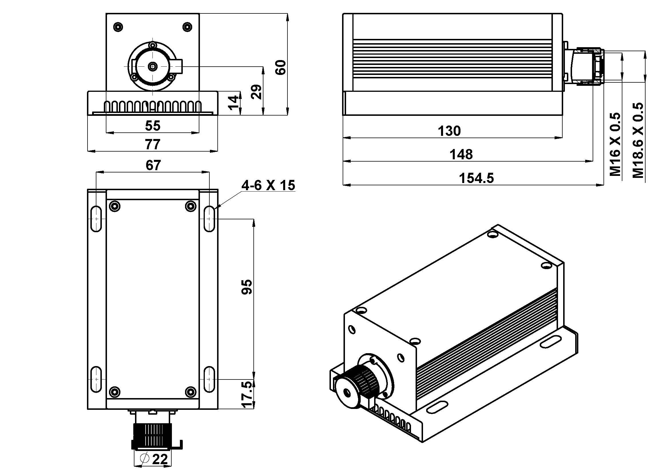 Dragon Lasers > H Series 1064nm 2Watt Laser