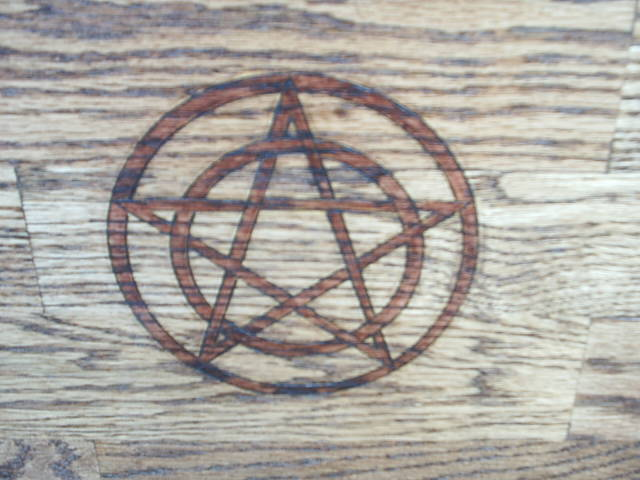 Pentagram and Pentacles Oak Cabinet Pagan Altar by DragonOak