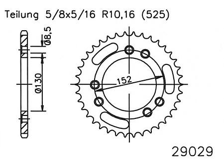 Kettenrad 41 Zähne Stahl 525er Teilung (5/8x5/16)