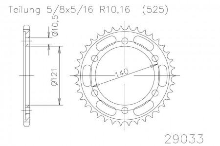 Kettenrad 45 Zähne Stahl 525er Teilung (5/8x5/16)
