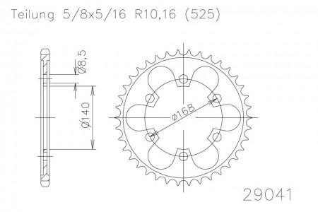 Kettenrad 42 Zähne Stahl 525er Teilung (5/8x5/16)