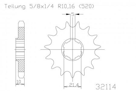 Ritzel 15 Zähne Stahl 520er Teilung (5/8x1/4)
