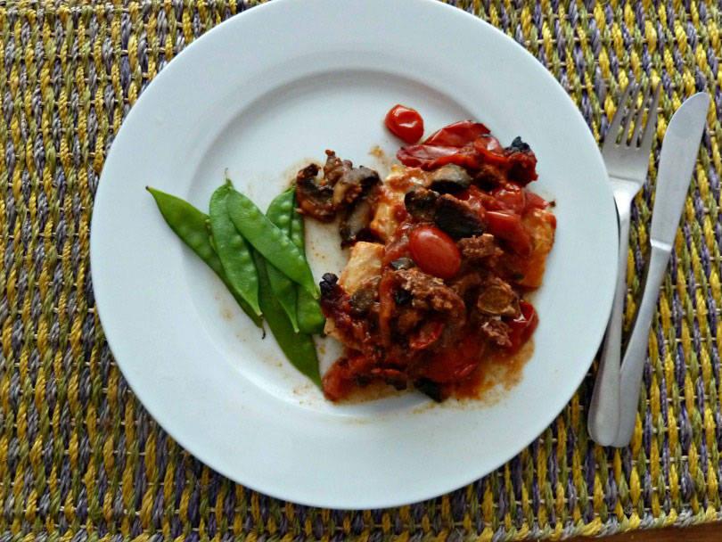 cod with a tomato chorizo and mushroom sauce