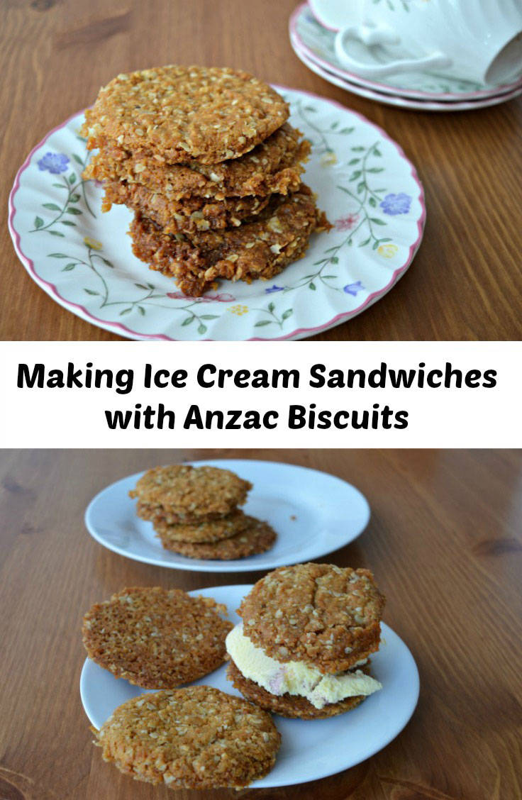 Ice cream sandwiches made with anzac biscuits
