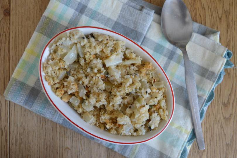 Sage and onion stuffing on a table