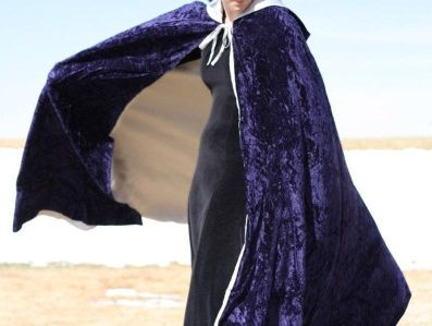 Black Full Length Cloak Open