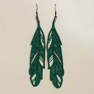 Feather Earrings in Jade