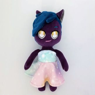 Limited-Anthro-Doll-Purple-Skin-Dark-Teal-Mowak-with-Pastel-Ombre-Dress-Front