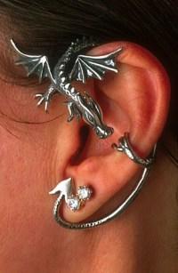 Dragon Earwear Earrings Jewellery Jewelry in gold and .925 ...