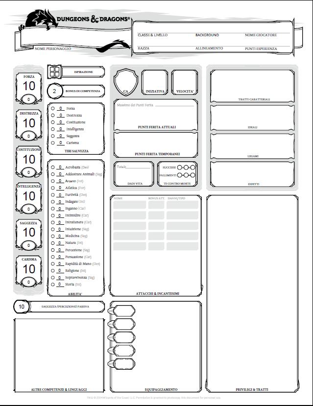 [DnD 5e] Nuovo download: Scheda del personaggio in pdf