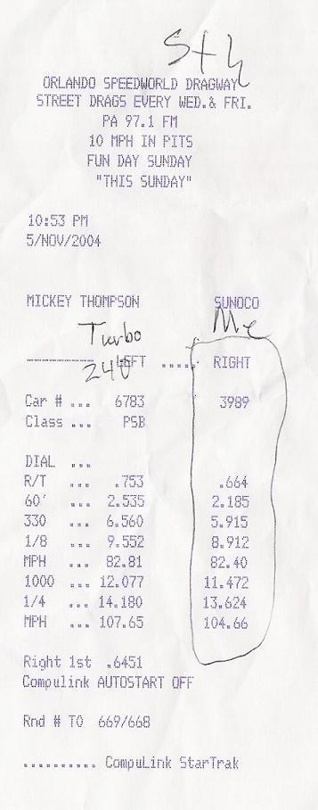 2003 Ford Mustang Mach 1 1/4 mile Drag Racing timeslip