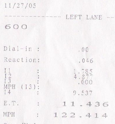 2004 Mercedes-Benz SL600 RennTech 1/4 mile trap speeds 0