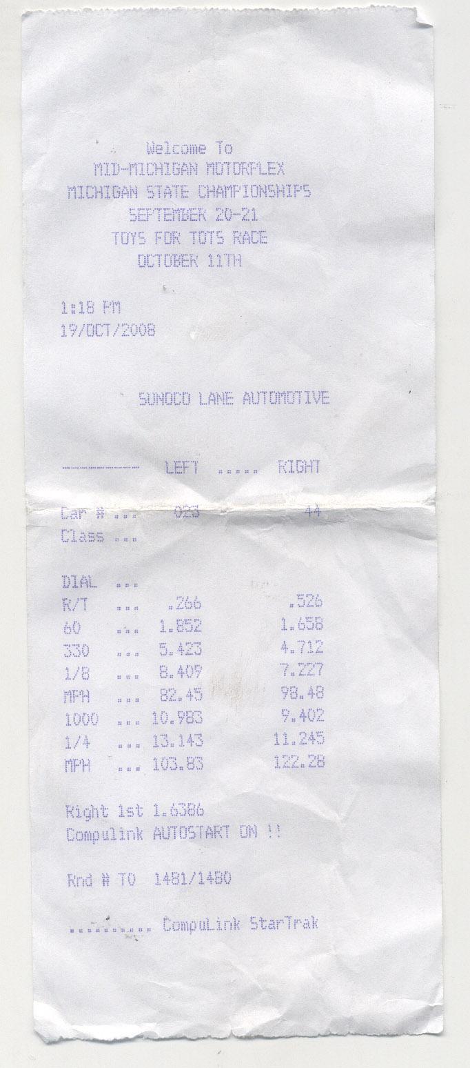 1998 Pontiac Grand Prix GTP 1/4 mile Drag Racing timeslip