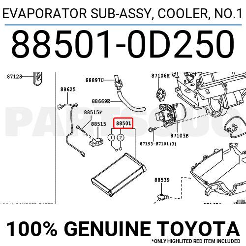 885010D250 Genuine Toyota EVAPORATOR SUB-ASSY, COOLER, NO