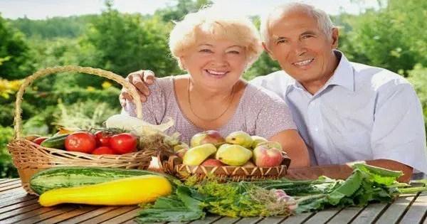 blog resim, yaşlı çift, oturuyor, sebze