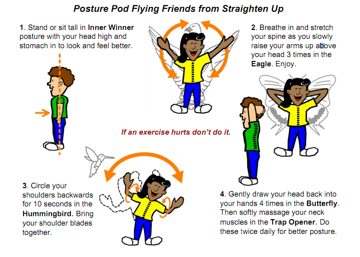 blog infographic of posture exercise instructions