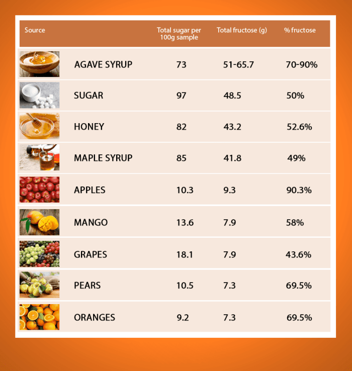 blog picture of table of syrups, sugars, and fruits with how much sugar and fructose they contain