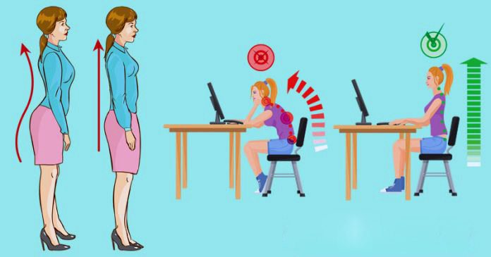 blog illustration of lady and young girl with incorrect posture then proper posture