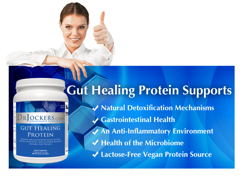 blog picture of lady with thumb up and a bottle of gut protein and benefits listed