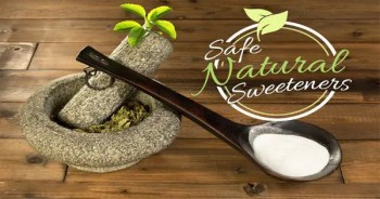 blog picture of mortar, pestle, spoon and sugar with safe natural sweeteners