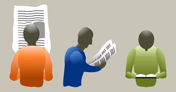 блог иллюстрация людей, читающих газету