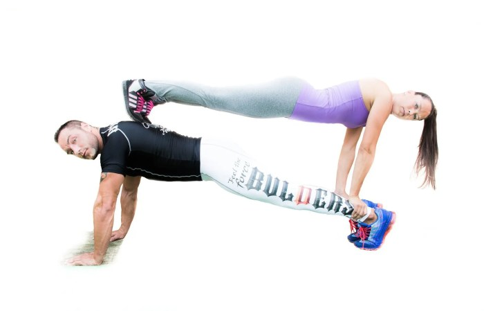 blog picture of a man doing push ups and woman doing push ups on top of him facing the other direction