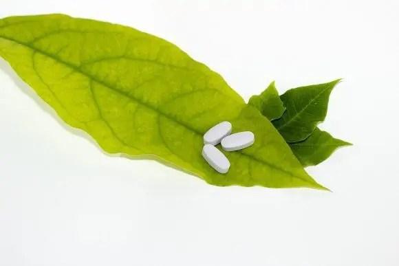 blog de imágenes de la hoja de la medicina y las píldoras en la parte superior