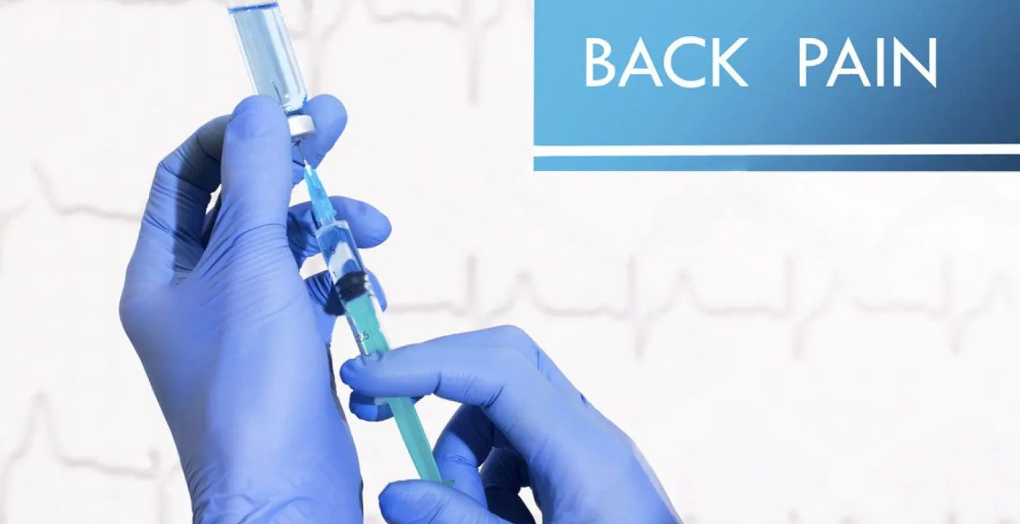 back pain syringe is filled with injection