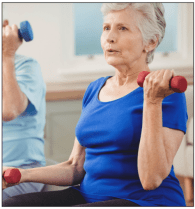 chronic back pain Elderly woman working out