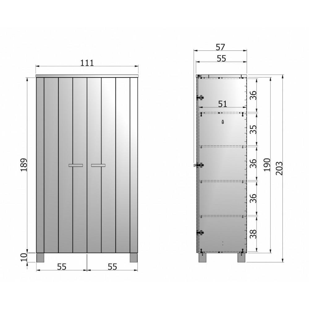 Armoire 2 Portes En Pin Masssif Blanc Design Scandinave Denis