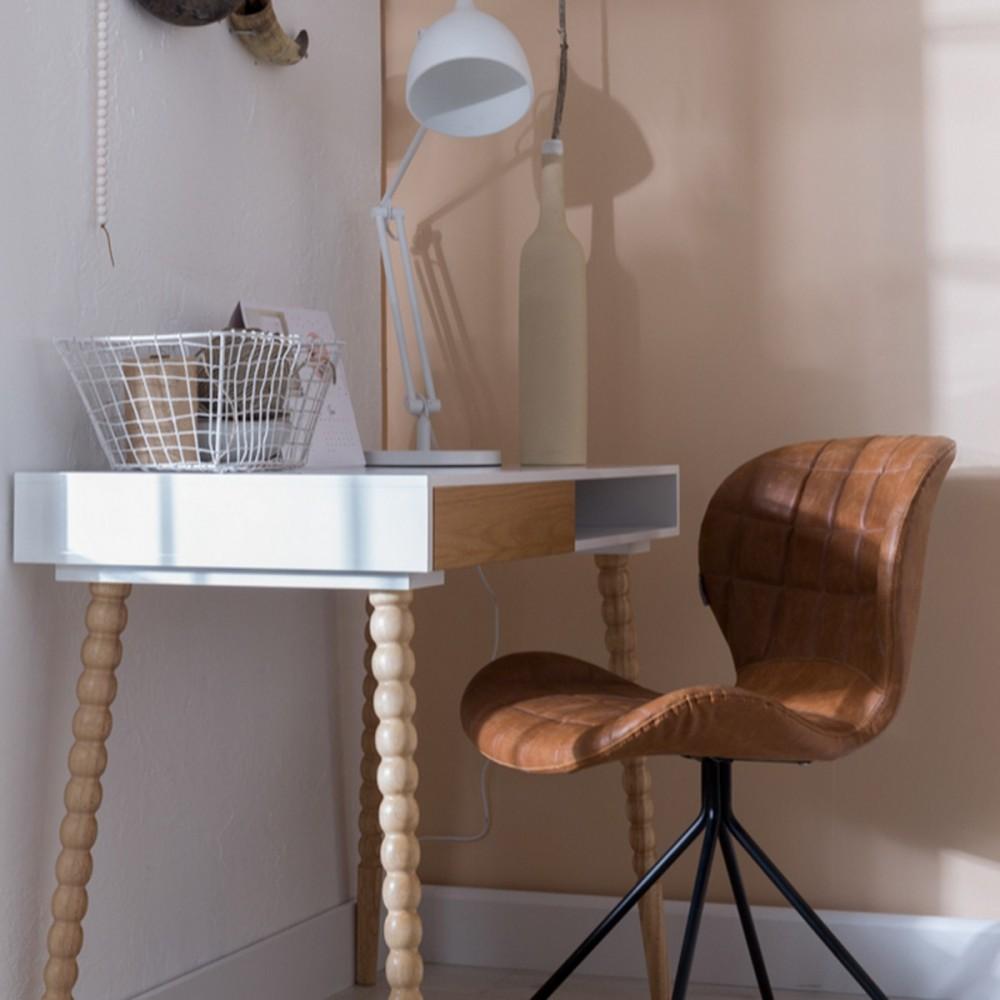 chaise designer omg skin cuir marron marron gris bleu petrole jaune zuiver