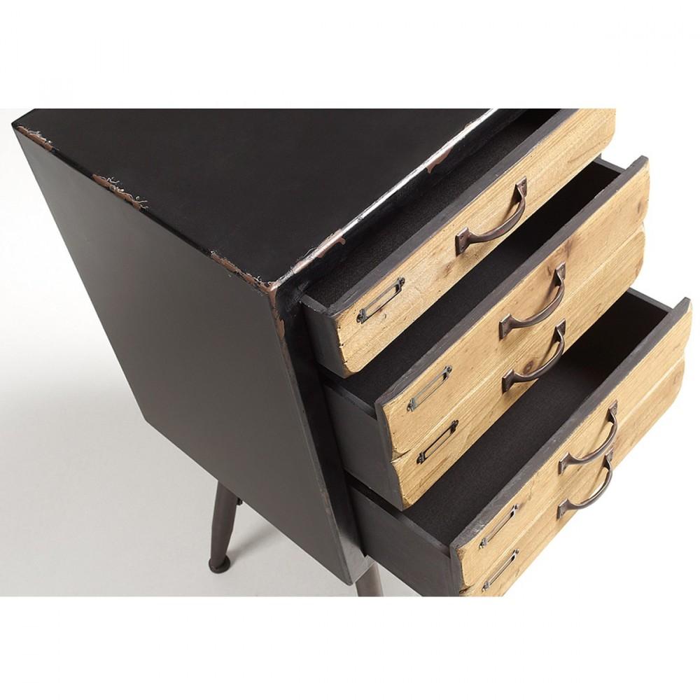 chiffonier vintage bois et metal 5 tiroirs kave home refe