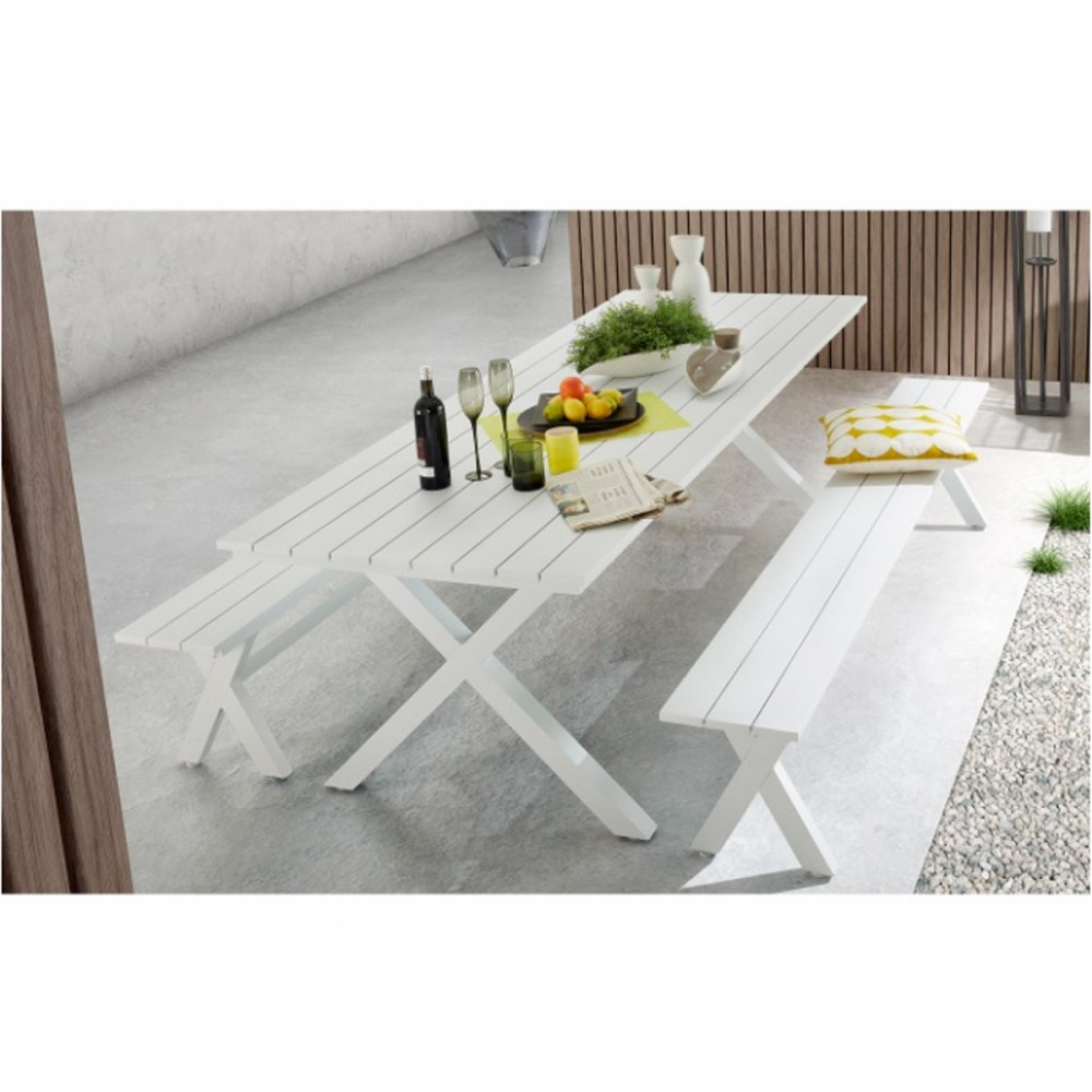 Table  manger de jardin blanche en aluminium Shellyn by Drawer
