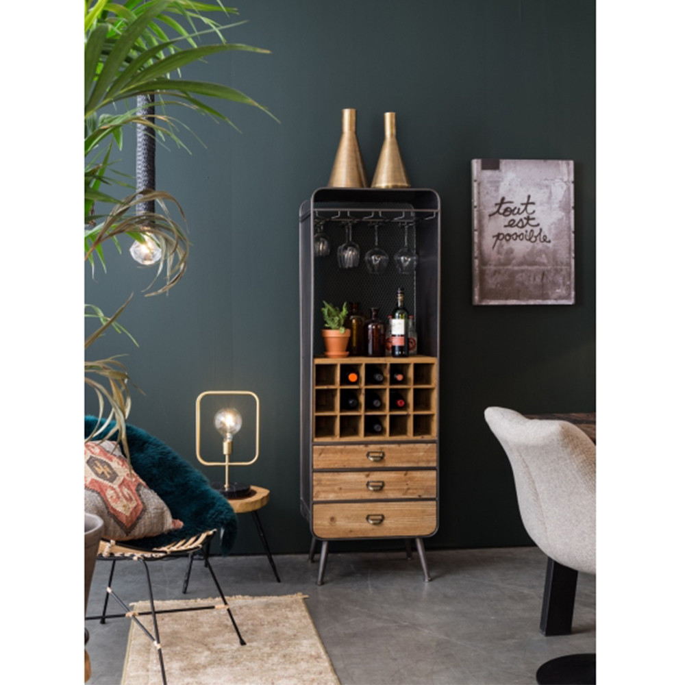 Armoire Bar Vins Mtal Et Bois Vino Dutchbone Drawer