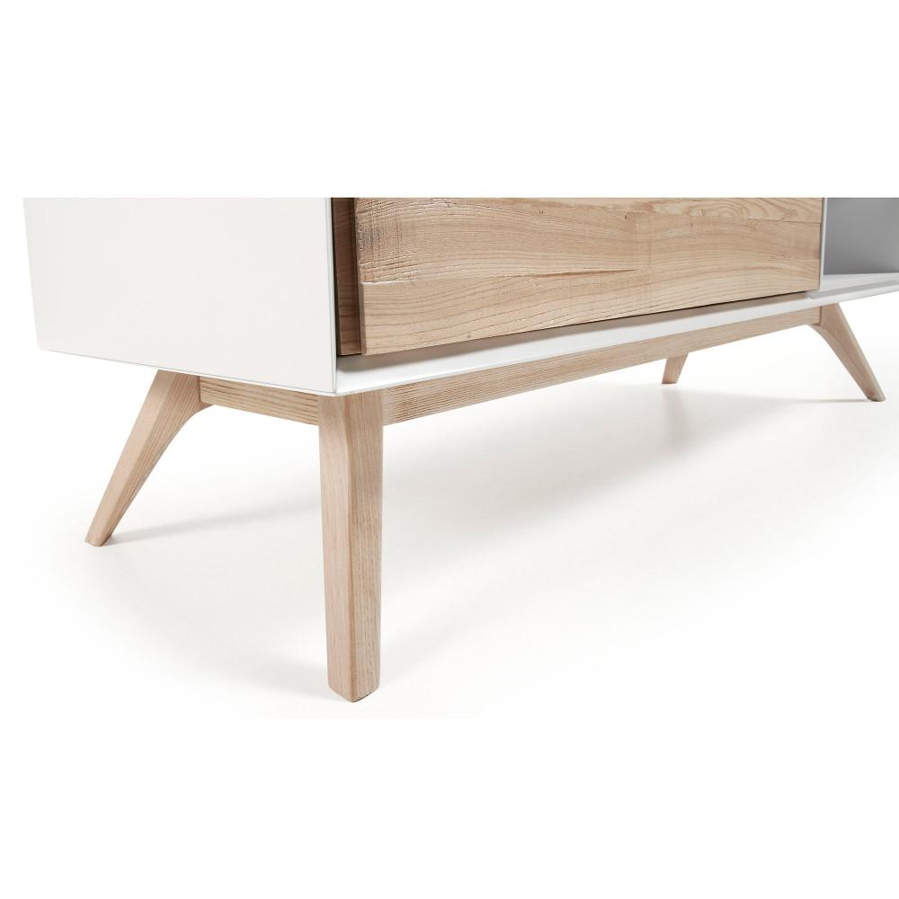 meuble tv design blanc et bois de frene joshua