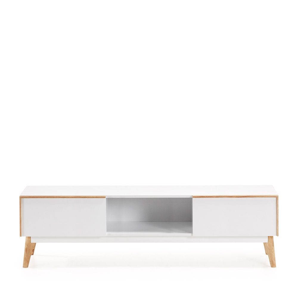 Meuble Tv Design Bois Laque Blanc 2 Tiroirs Hector By Drawer
