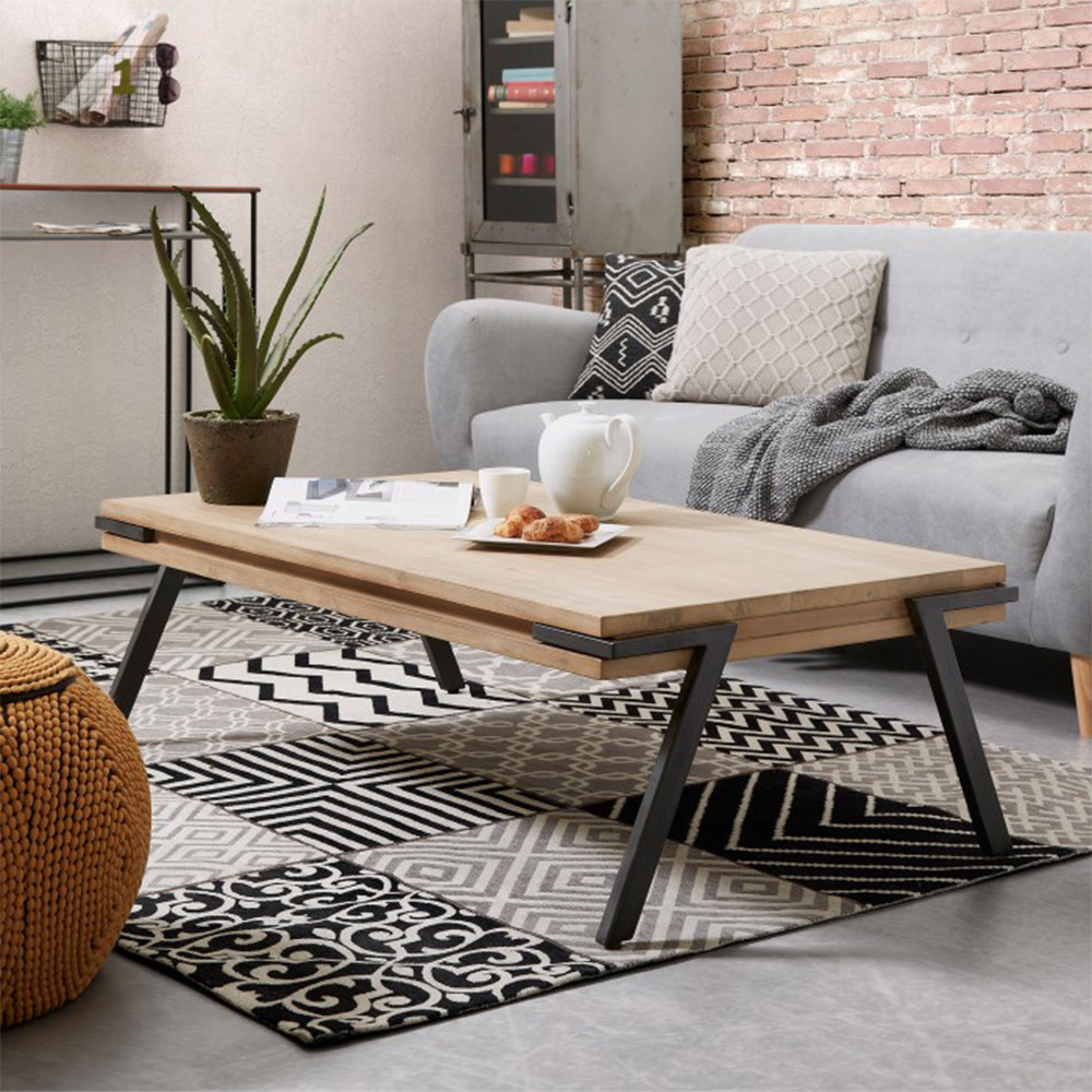 table basse rectangle bois massif et metal kave home spike