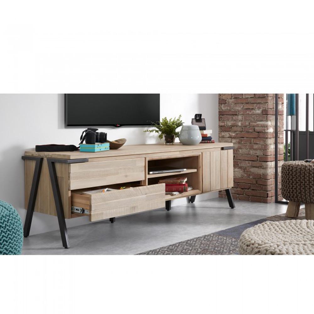 meuble tv bois massif et metal 2 tiroirs 1 porte kave home spike