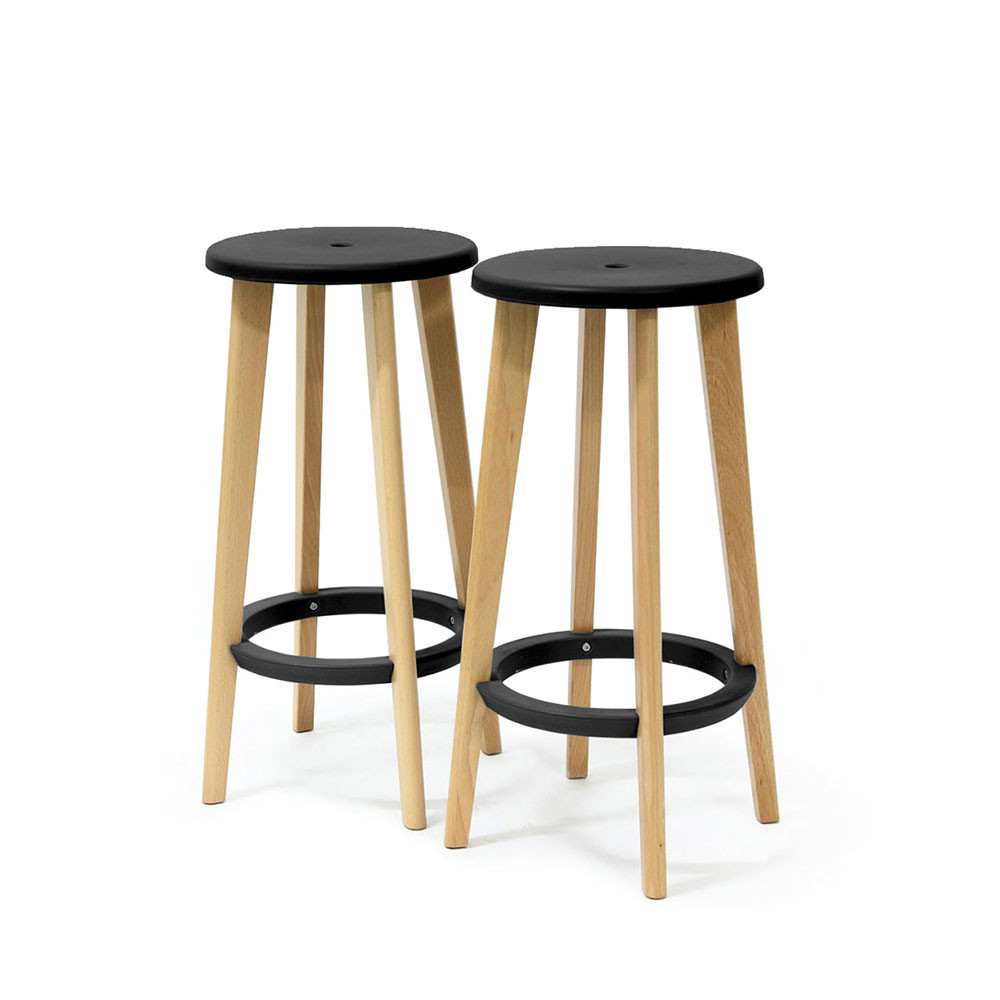 lot de 2 tabourets de bar bois et noir harry s