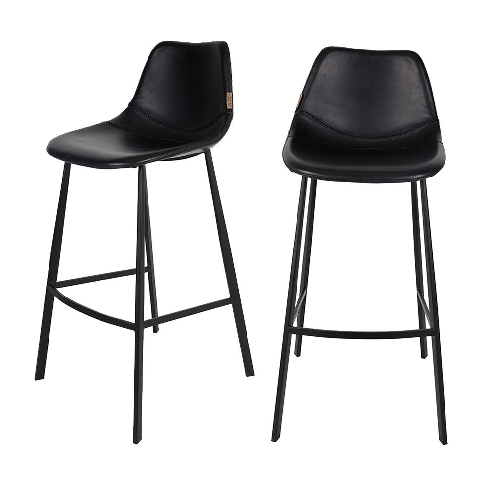 Lot De 2 Tabourets De Bar Faon Cuir Franky Dutchbone